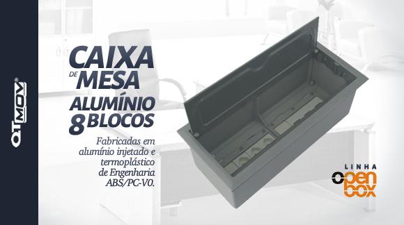 caixa de mesa open box aluminio